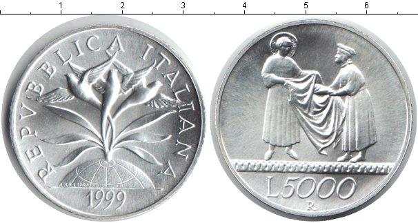 Картинка Монеты Италия 5.000 лир Серебро 1999