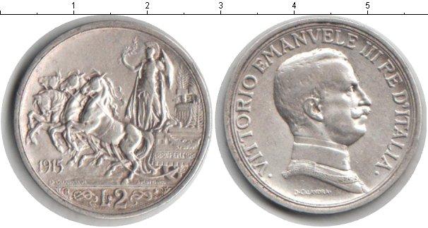 Картинка Монеты Италия 2 лиры Серебро 1915