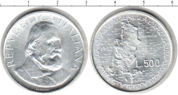 Картинка Монеты Италия 500 лир Серебро 1982