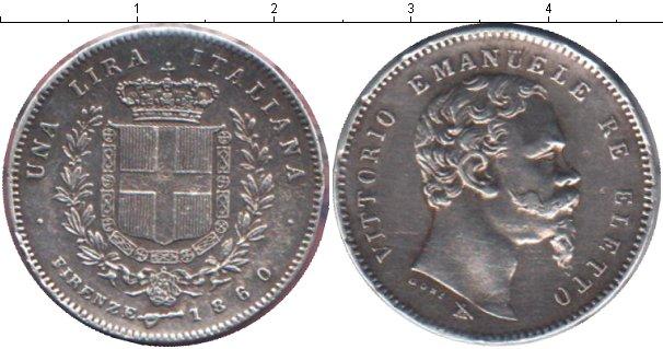 Картинка Монеты Италия 1 лира Серебро 1860