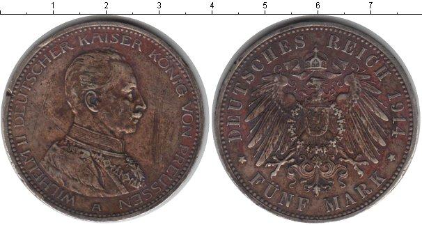 Картинка Монеты Пруссия 5 марок Серебро 1914