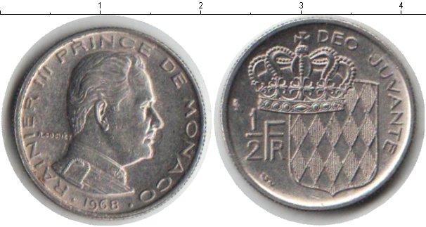 Картинка Мелочь Монако 1/2 франка Медно-никель 1968
