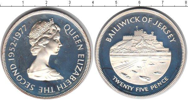 Картинка Мелочь Остров Джерси 25 пенсов Серебро 1977