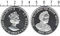 Изображение Монеты Остров Святой Елены 50 пенсов 2000 Серебро Proof 100-летие королевы-м