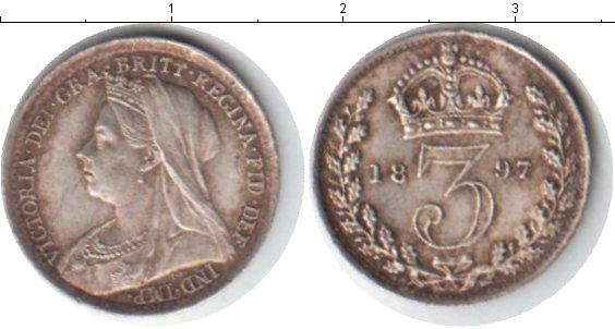 Картинка Монеты Великобритания 3 пенса Серебро 1897