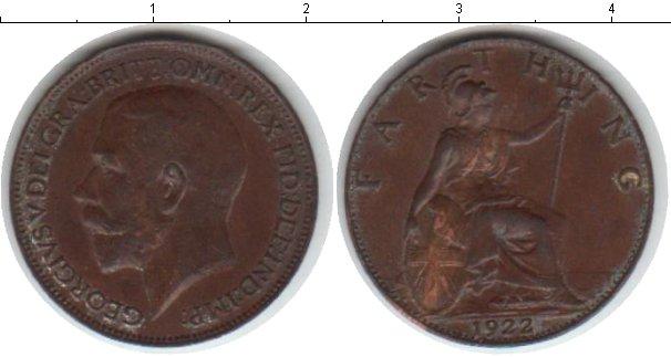 Картинка Монеты Великобритания 1 фартинг Медь 1922