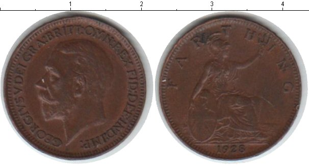 Картинка Монеты Великобритания 1 фартинг Медь 1928