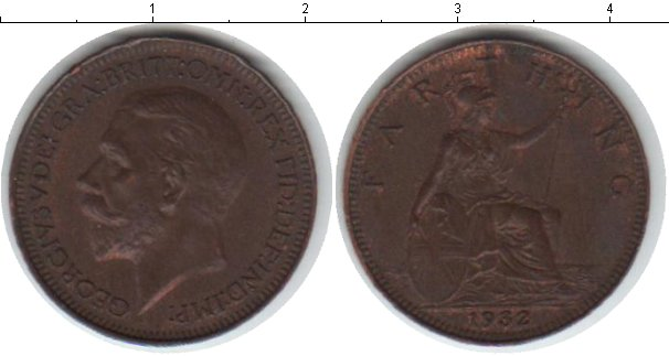 Картинка Монеты Великобритания 1 фартинг Медь 1932