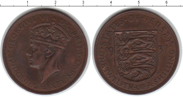 Картинка Монеты Остров Джерси 1/12 шиллинга Медь 1937