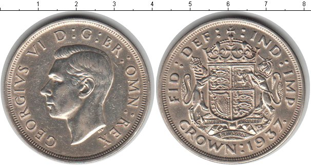 Картинка Монеты Великобритания 1 крона Серебро 1937