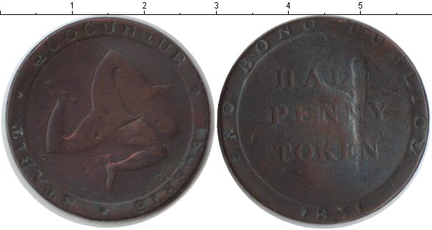 Картинка Монеты Остров Мэн 1/2 пенни Медь 1831