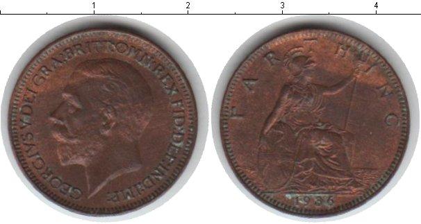 Картинка Монеты Великобритания 1 фартинг Медь 1936
