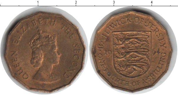 Картинка Монеты Остров Джерси 1/4 шиллинга Медь 1964