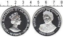 Изображение Монеты Остров Вознесения 50 пенсов 2000 Серебро Proof 100-летие королевы-м