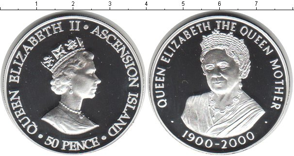 Картинка Монеты Остров Вознесения 50 пенсов Серебро 2000