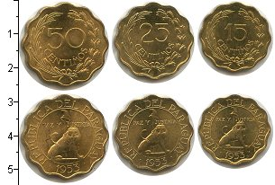 Изображение Наборы монет Парагвай Парагвай 1953 1953  XF В наборе 3 монеты но