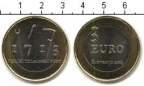 """Изображение Мелочь Словения 3 евро 2013 Биметалл UNC- <font face=""""arial, s"""