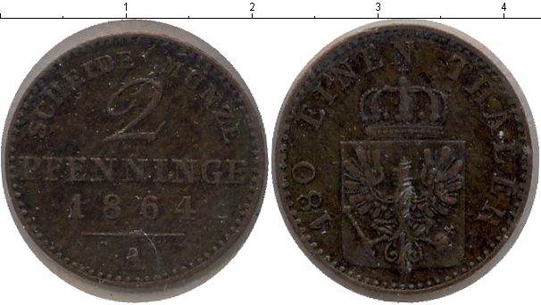 Картинка Монеты Пруссия 2 пфеннига Медь 1864
