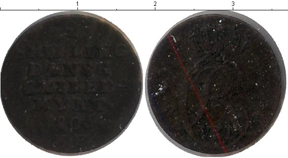 Картинка Монеты Дания 2 скиллинга Медь 1805