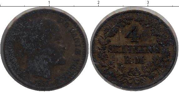 Картинка Монеты Дания 4 скиллинга Серебро 1856