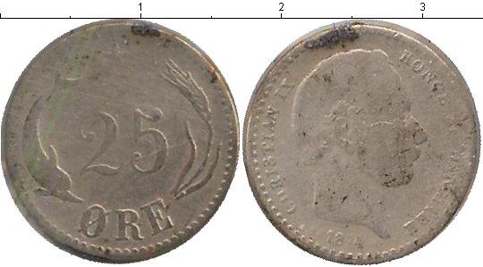 Картинка Монеты Дания 25 эре Серебро 1874