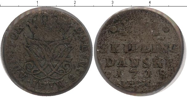 Картинка Монеты Дания 4 скиллинга Серебро 1718