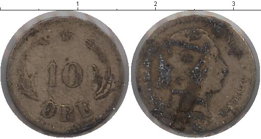 Картинка Монеты Дания 10 эре Серебро 1874