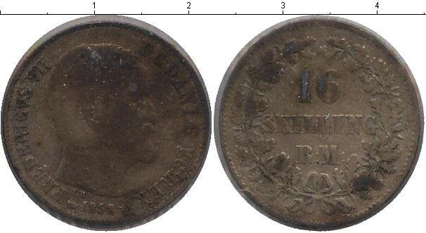 Картинка Монеты Дания 16 скиллингов Серебро 1858