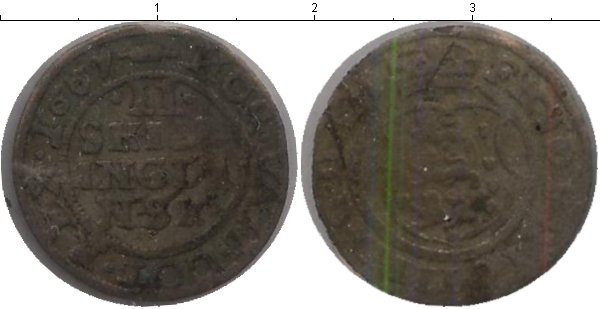 Картинка Монеты Дания 2 скиллинга Медь 1651