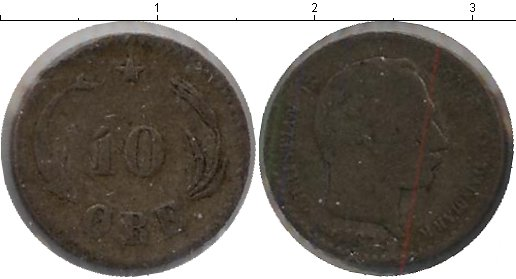 Картинка Монеты Дания 10 эре Серебро 1875