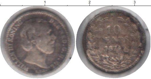 Картинка Монеты Нидерланды 10 центов Серебро 1874