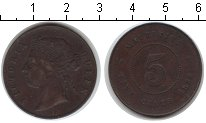 Изображение Монеты Маврикий 5 центов 1888 Медь XF Виктория