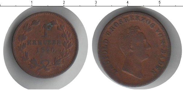 Картинка Монеты Баден 1 крейцер Медь 1840