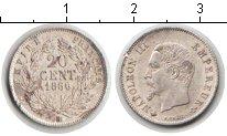Изображение Монеты Франция 20 сантимов 1860 Серебро  Наполеон III. BB