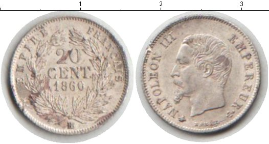 Картинка Монеты Франция 20 сантимов Серебро 1860