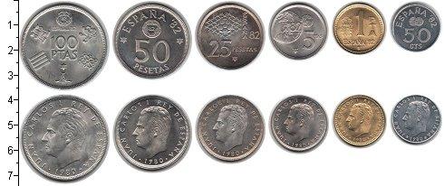 Изображение Наборы монет Испания Испания 1980 1980  XF В наборе 6 монет ном