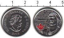 Изображение Мелочь Канада 25 центов 2012 Медно-никель UNC Текумсе (цветная эма