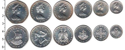 Изображение Наборы монет Остров Мэн Остров Мэн 1975 1975 Серебро UNC- В наборе 6 монет ном