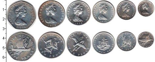 Изображение Наборы монет Остров Мэн Остров Мэн 1975-1976 0 Серебро UNC- В наборе 6 монет ном