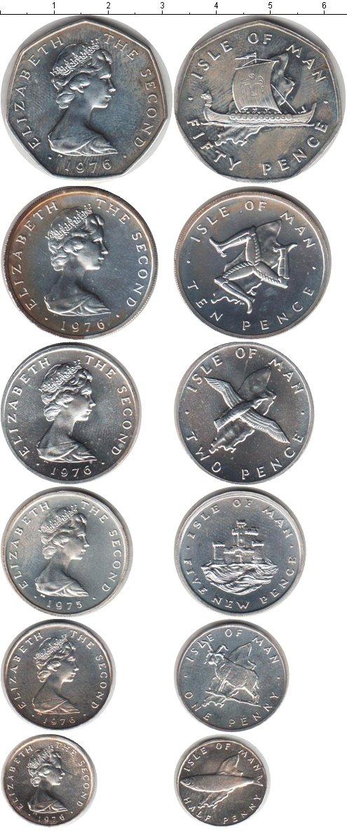 Картинка Наборы монет Остров Мэн Остров Мэн 1975-1976 Серебро 0