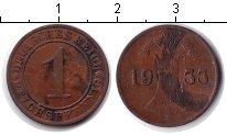 Изображение Монеты Веймарская республика 1 пфенниг 1933 Медь VF А