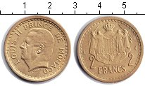 Изображение Монеты Монако 2 франка 1945  XF Льюис II