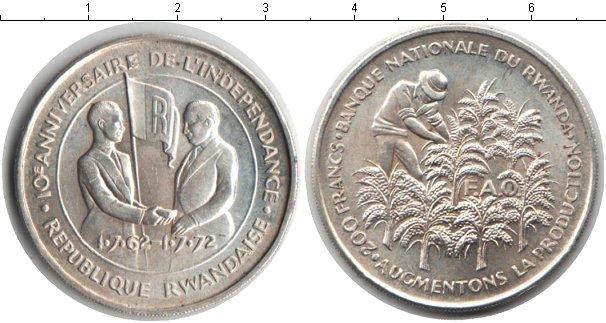 Картинка Монеты Руанда 200 франков Серебро 1972