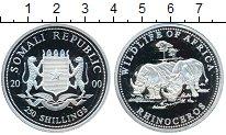 Изображение Монеты Сомали 250 шиллингов 2000 Серебро Proof- <br>Носороги. <br><b