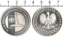 Изображение Монеты Польша 200.000 злотых 1991 Серебро Proof- 70 лет международной