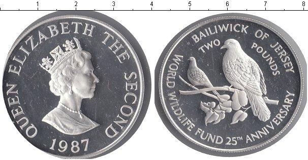 Картинка Монеты Остров Джерси 2 фунта Серебро 1987