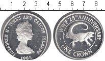 Изображение Монеты Теркc и Кайкос 1 крона 1988 Серебро Proof- Елизавета II. Гекон
