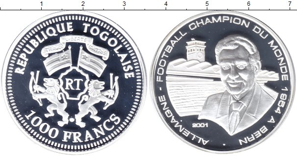 Картинка Монеты Того 1.000 франков Серебро 2001