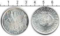 Изображение Монеты Сан-Марино 1.000 лир 1989 Серебро UNC-