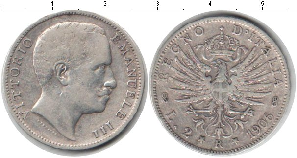 Картинка Монеты Италия 2 лиры Серебро 1906